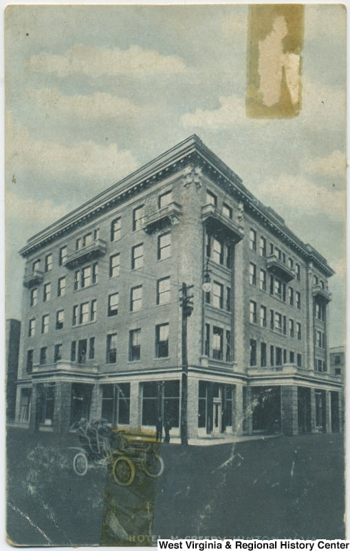 An image from a postcard taken in 1907 feature Hotel Mcreery