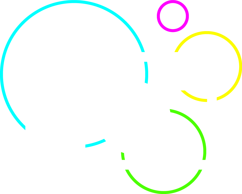 Web Design services icon, featuring a white outline of a laptop with various orb outlines in green, teal, yellow, and magenta intersecting the laptop outline, appearing as background elements and transcending into graphics on the screen of the laptop. There is also a magenta outline of a mobile phone in the foreground of the laptop that features the same colorful orbs but in a way that illustrates responsive web design, as if the orb graphic displayed on the phone's web browser have automatically been adjusted to fit the proportions of the phone's screen.