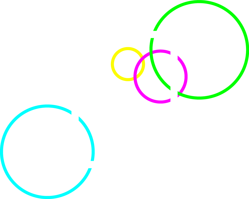 Print Design services icon, featuring an illustration of a stack of papers, with the bottom right corner of the top sheet bent up to give the illusion of having a stack of papers. The top sheet has also been stylized with a series of thin and long rectangles in a single column to represent lines of text making a paragraph. There are also various orb outlines in green, teal, yellow, and magenta colors that are intersecting the stack of papers.