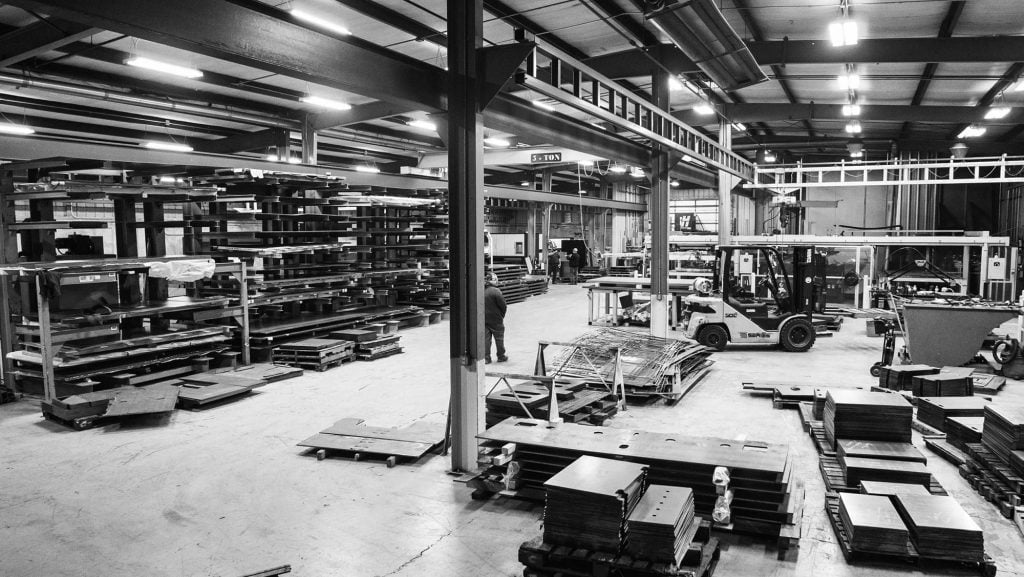 Black and white photo of the Lawrence Brothers shop floor