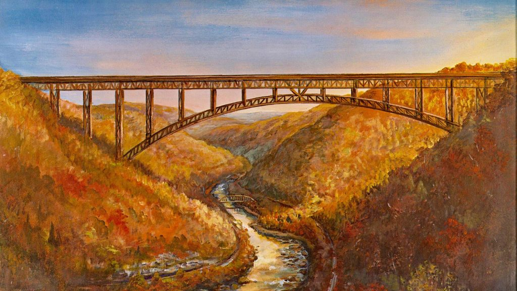 A painting of the New River Gorge Bridge in the fall